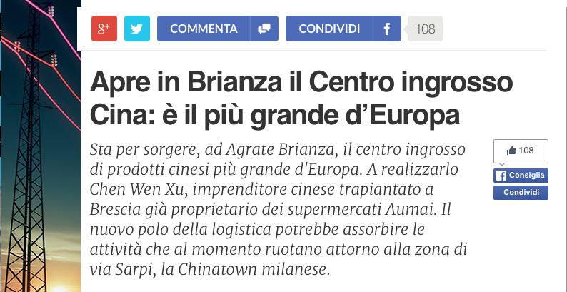 Apre In Brianza Il Centro Ingrosso Cina: é Il Più Grande D'europa